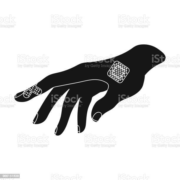 Bactericide Gips Op De Arm Geneeskunde Één Pictogram In Zwarte Stijl Vector Symbool Stock Illustratie Web Stockvectorkunst en meer beelden van Beschadigd