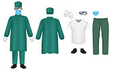 istock Bacteriological green protective suit set, vector isolated illustration 1216918574