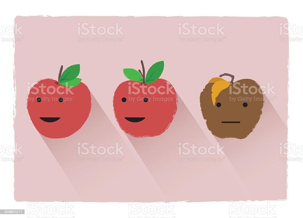 Bad apple vector art illustration