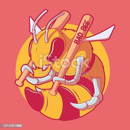 istock Bad Bee character vector illustration. 1314251866