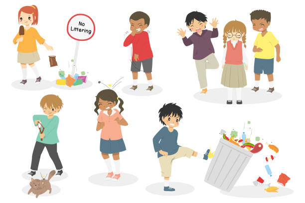 bad behaviour, naughty kids vector set - child throwing garbage stock illustrations, clip art, cartoons, & icons