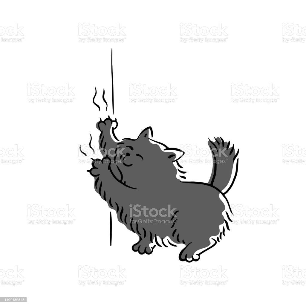 悪い黒猫の引っ掻く壁紙スケッチ漫画のベクトルイラストが孤立しました