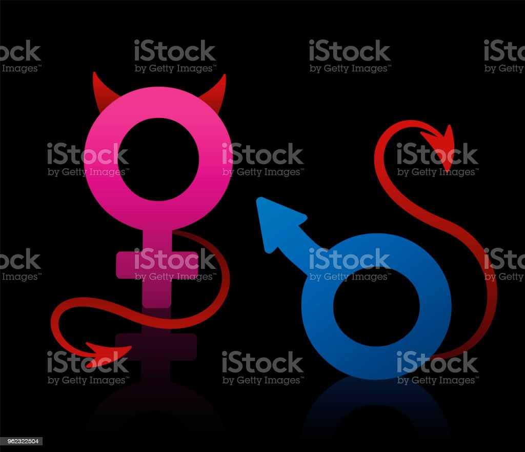 Bad Boy And Bad Girl Figured As The Male And Female Symbol Blue And