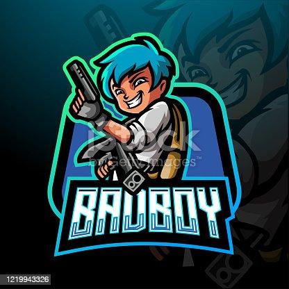 Bad boy esport logo mascot design .
