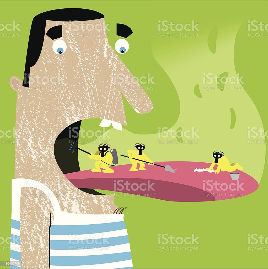 Bad breath vector art illustration