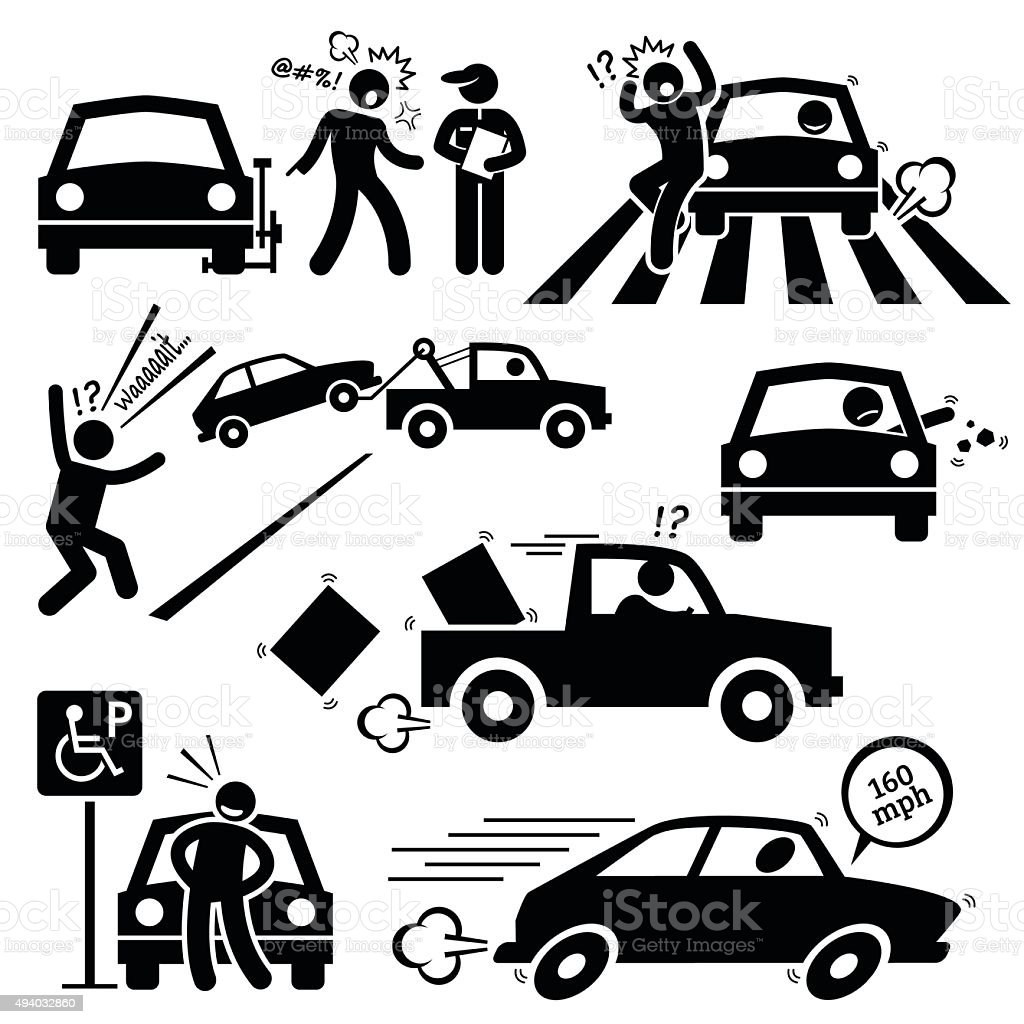Bad Car Driver Furious Driving Pictogram vector art illustration