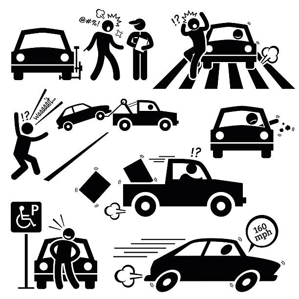 Bad Car Driver Furious Driving Pictogram An angry man scolding a police traffic who clamp his car. A reckless driver is speeding on zebra crossing and almost hit a pedestarian. He also throw out rubbish from his car and park his car on a handicap parking ignoring the sign. careless stock illustrations