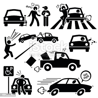 Bad Car Driver Furious Driving Pictogram Stock Vector Art