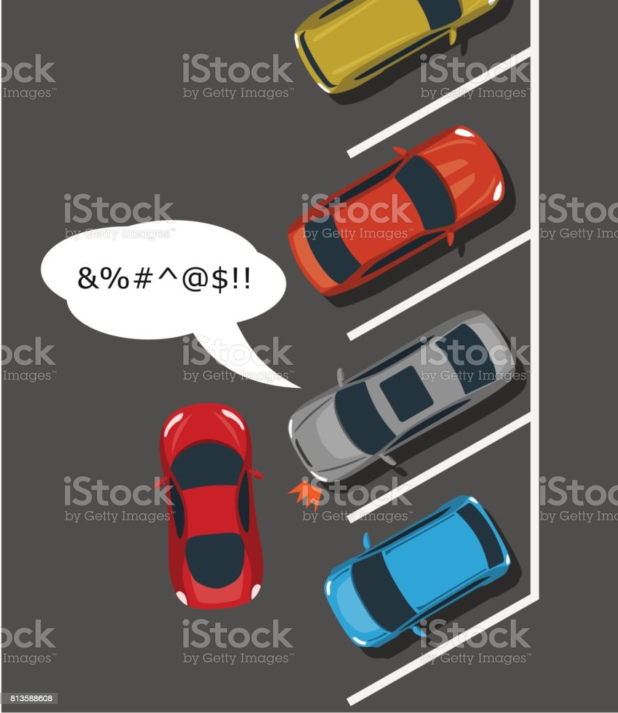 Bad car parking top view illustration. vector art illustration