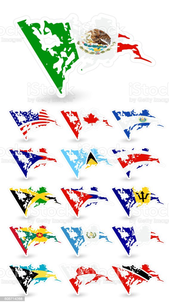 Bad condition flags of North America vector art illustration
