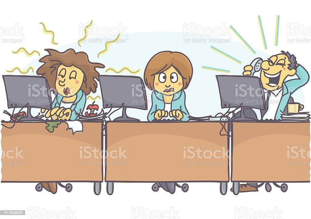 Bad coworkers vector art illustration