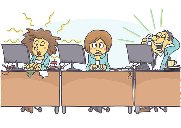 Bad coworkers vector art illustration