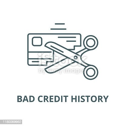 Bad credit history vector line icon, outline concept, linear sign