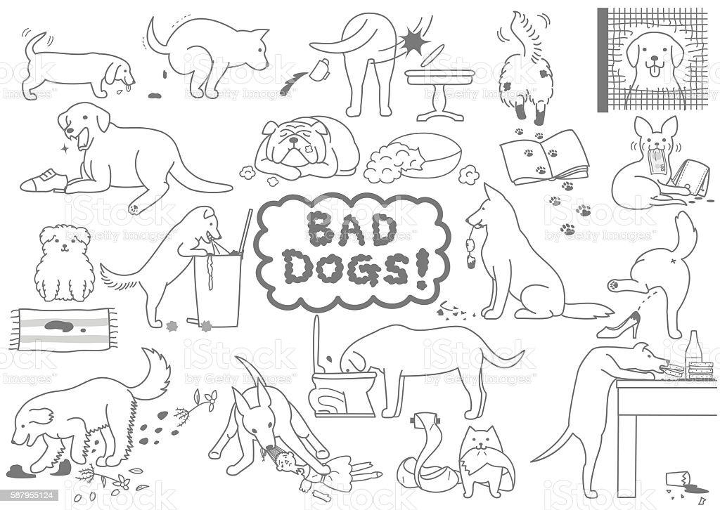 bad dogs set vector art illustration