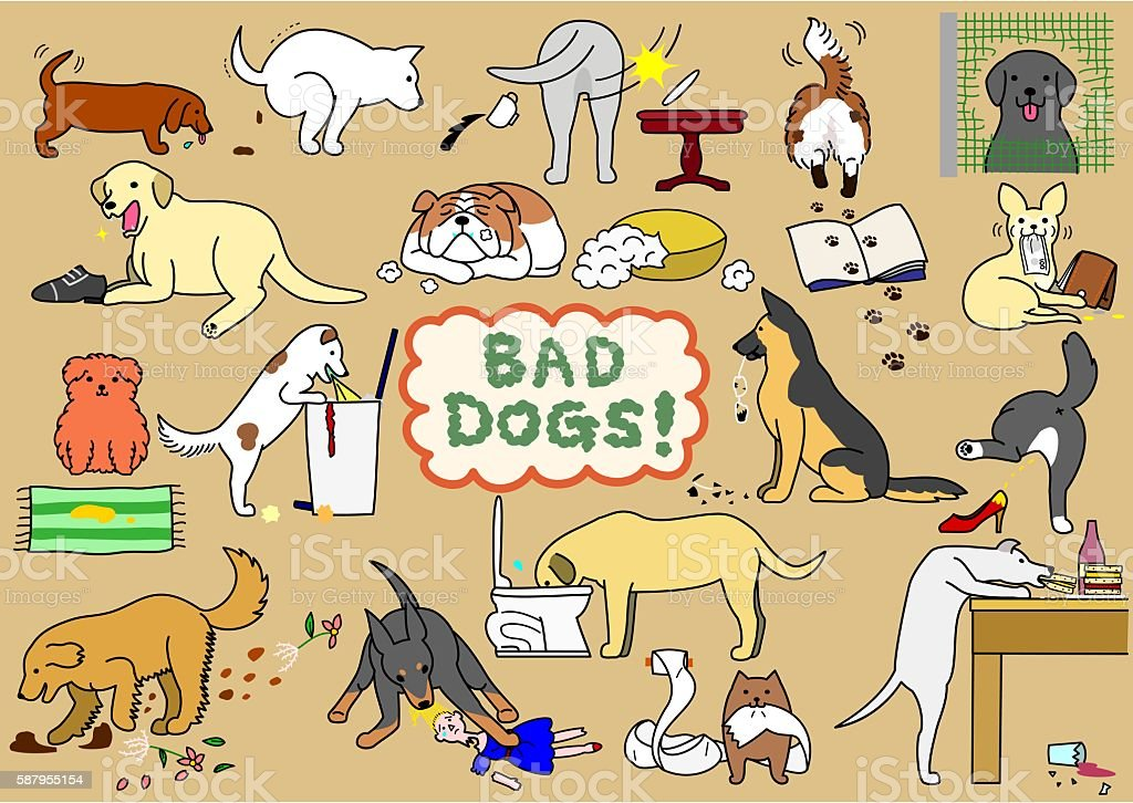 bad dogs set vector art illustration