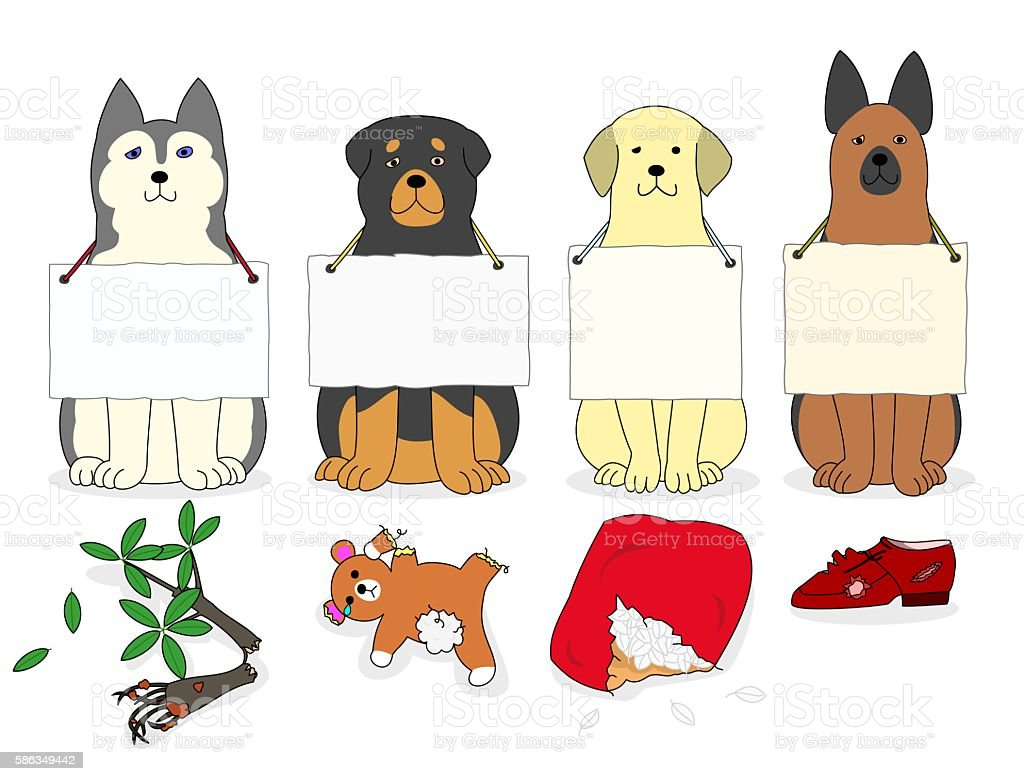 bad dogs vector art illustration
