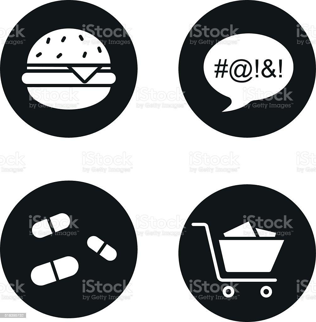 Bad habits icons vector art illustration