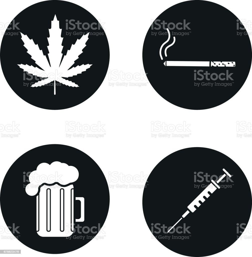 Mauvaises habitudes icônes mauvaises habitudes icônes – cliparts vectoriels et plus d'images de alcool libre de droits