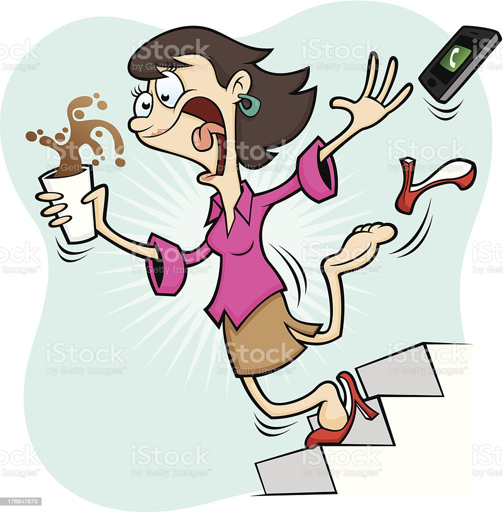 Bad Health and Safety - Stairs can be Dangerous royalty-free bad health and safety stairs can be dangerous stock vector art & more images of adult