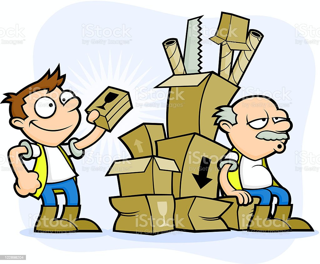 Bad Health and Safety Workmen - Badly Stacked Boxes royalty-free stock vector art