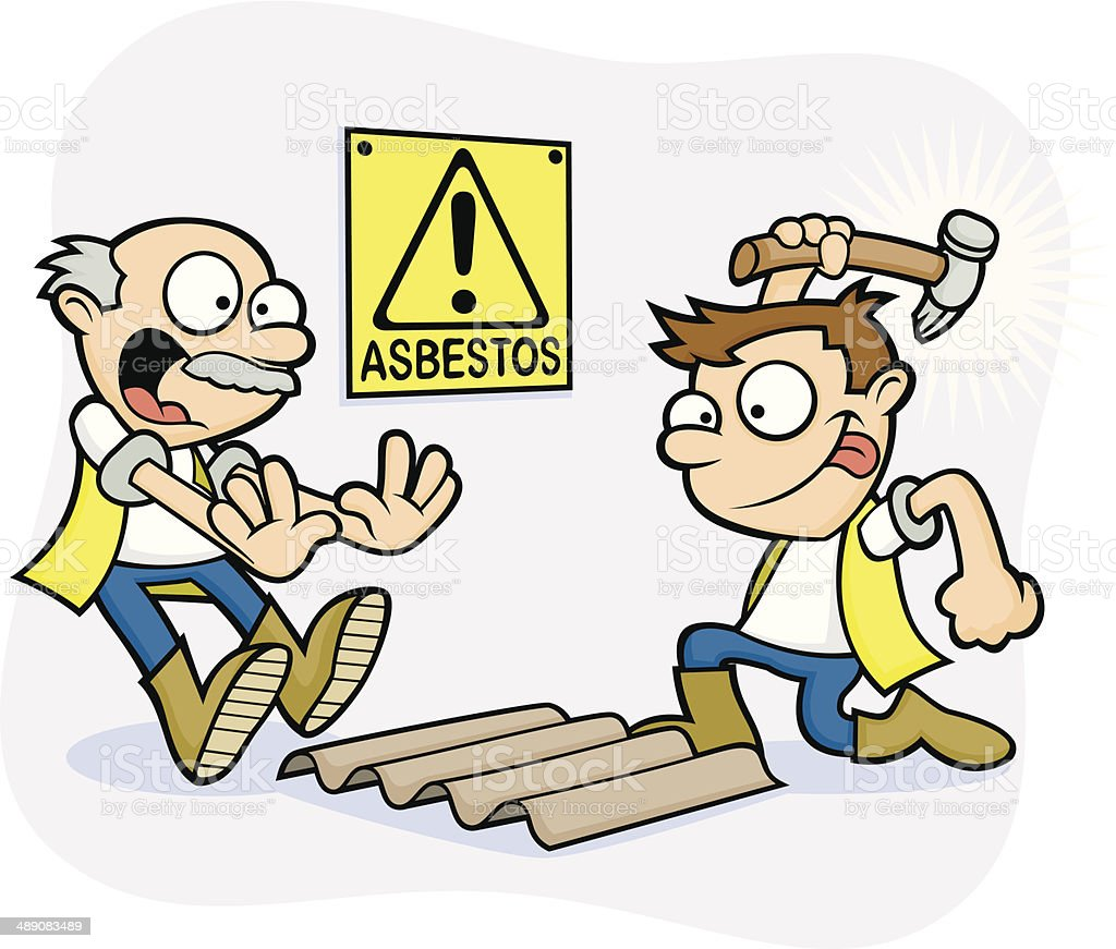 Bad Health and Safety Workmen - Danger Asbestos vector art illustration
