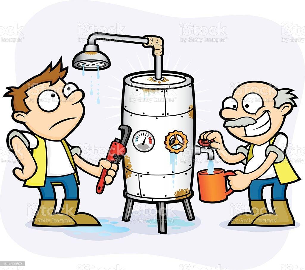 Ilustración de Mala Salud Y Seguridad Workmen Calentador De Agua ...