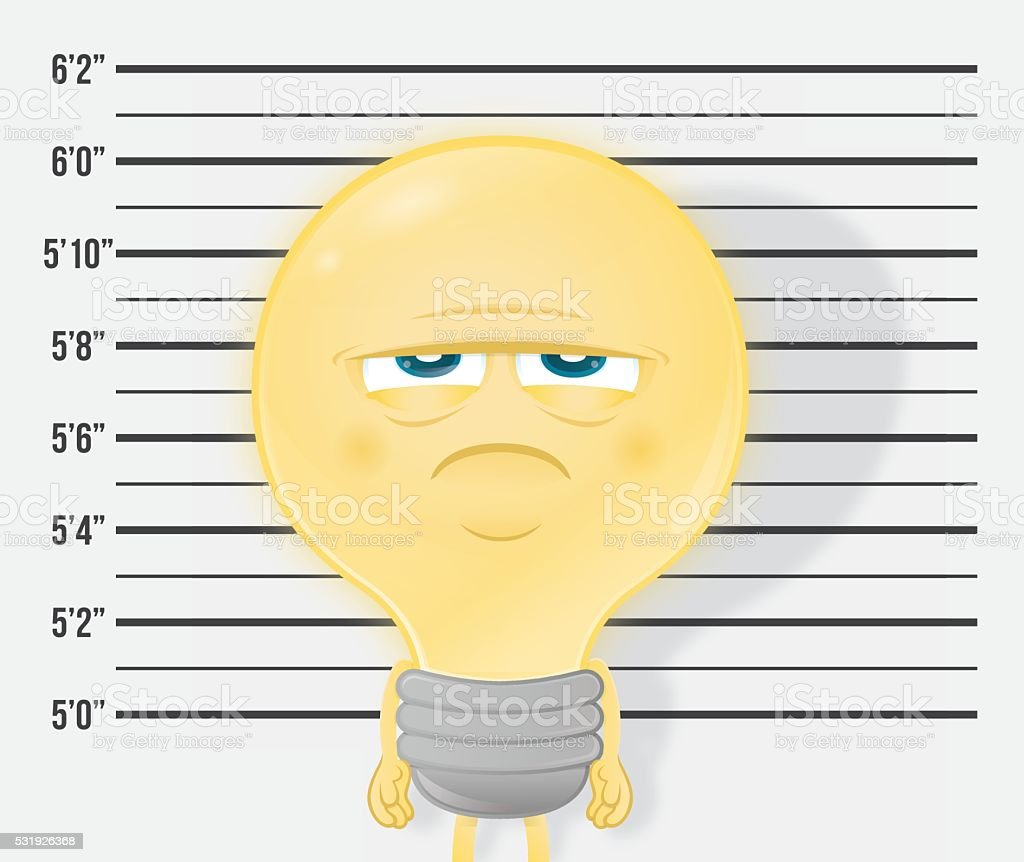 Bad idea mugshot bulb criminal vector art illustration