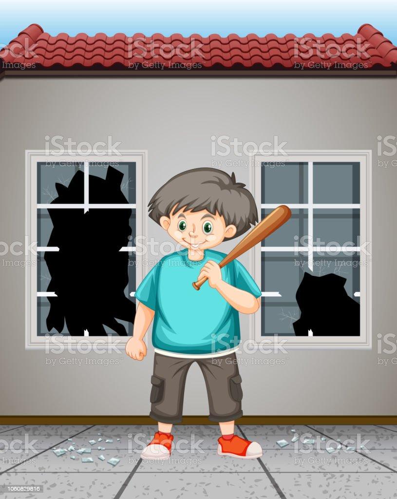 Bad kid hit the window glass vector art illustration