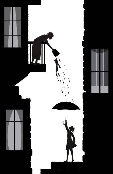 bildbanksillustrationer, clip art samt tecknat material och ikoner med dålig granne, tricks av en granne, kvinna fattiga vattnet från balkongen på den unga kvinnan på nedervåningen, livet i staden scen silhuetter, vektor - gränd