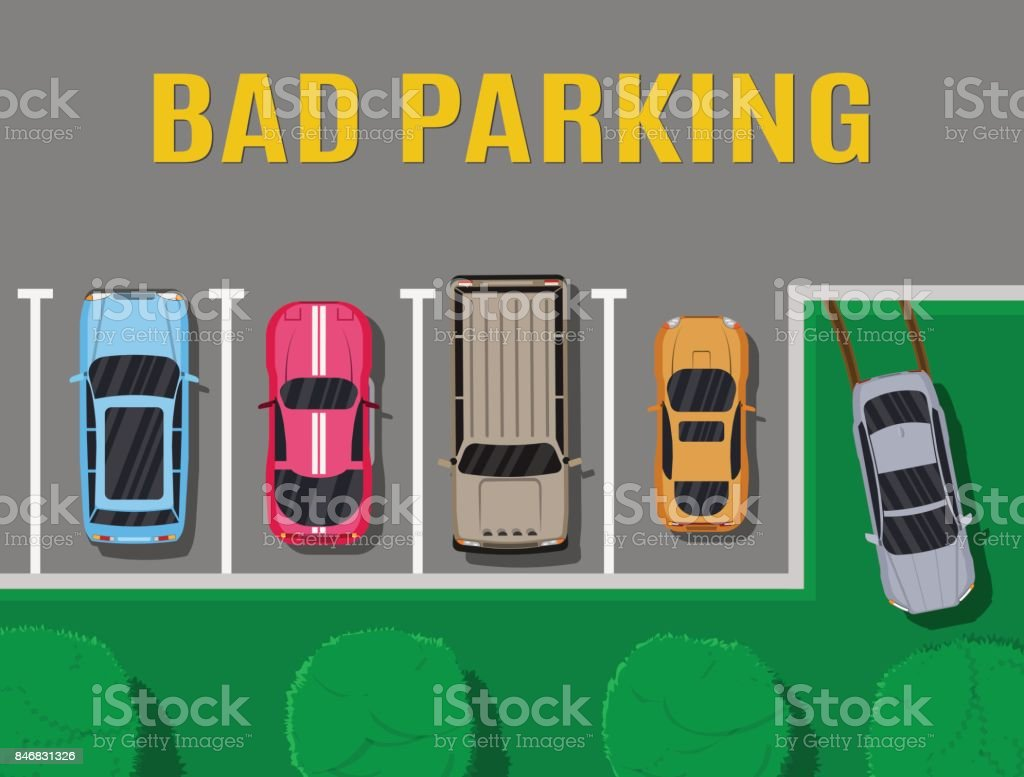 Bad or wrong car parking. vector art illustration