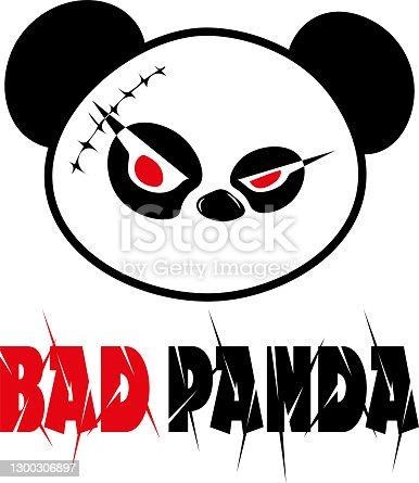 istock Bad panda with an inscription 1300306897