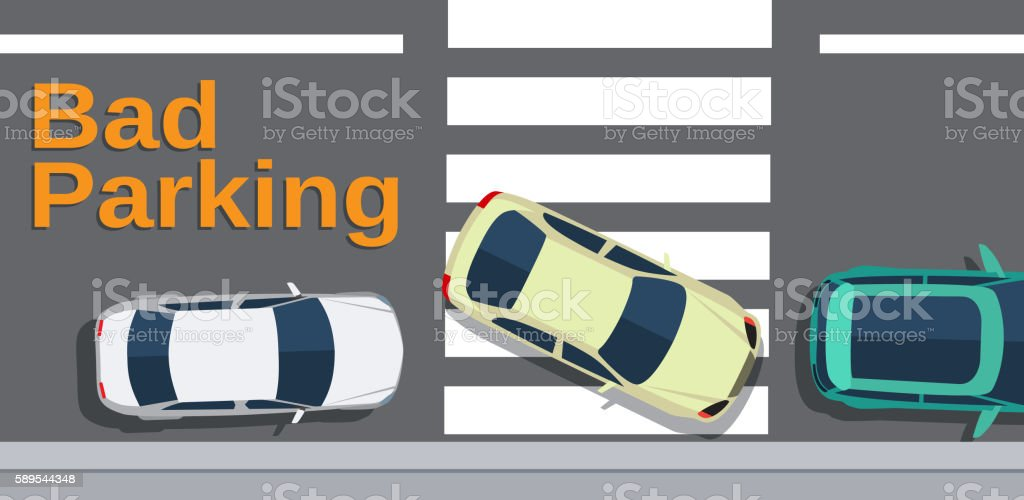 Bad parking. Car blocked the crosswalk and closed to pedestrians vector art illustration
