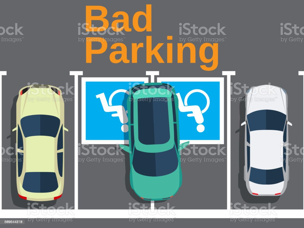 Bad parking. car parked for disabled vector art illustration