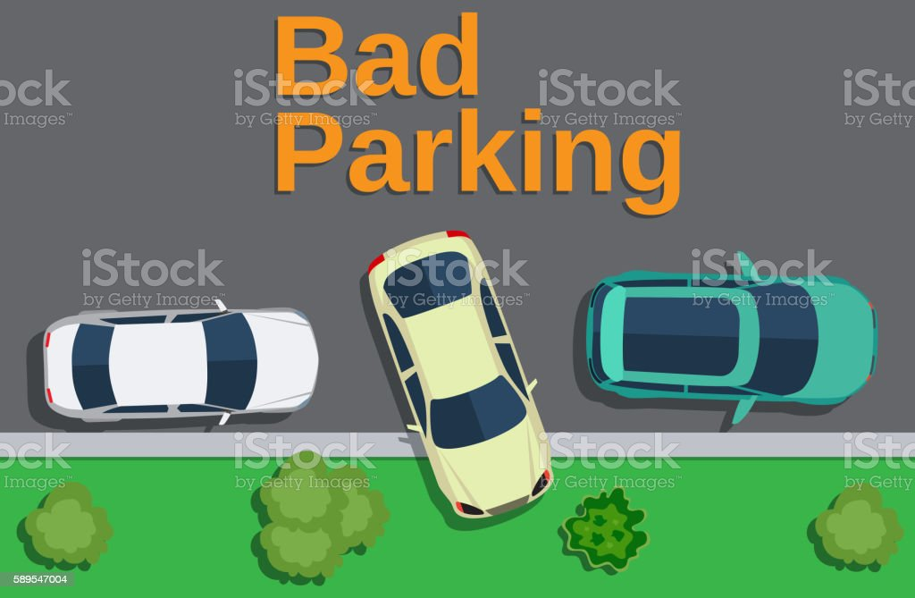Bad parking. car parked on the lawn. vector art illustration