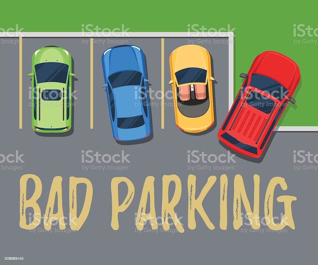 Bad parking. Top view of a car parked vector art illustration