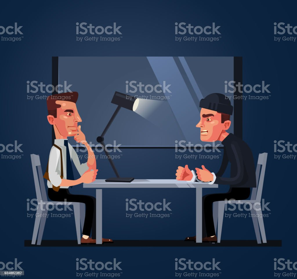 Bad policeman officer cop character arrest and interrogates suspected criminal prisoner asking him question. Crime and law concept vector art illustration