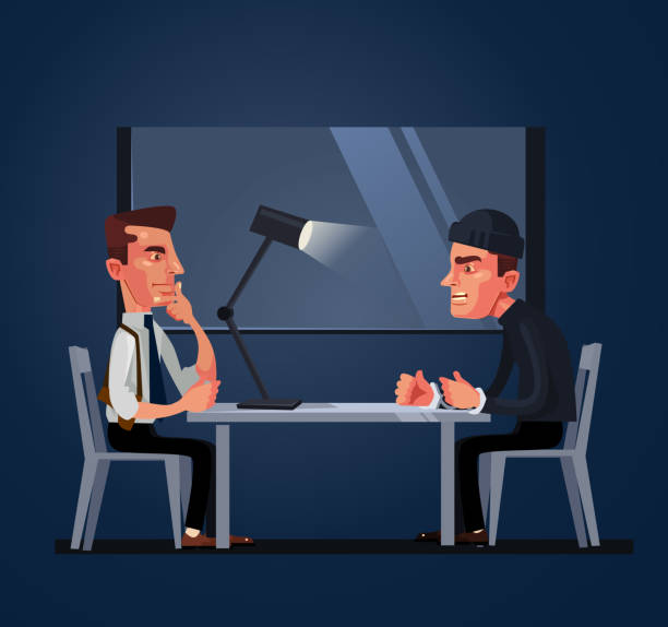 Bad policeman officer cop character arrest and interrogates suspected criminal prisoner asking him question. Crime and law concept Bad policeman officer cop character arrest and interrogates suspected criminal prisoner asking him question. Crime and law concept. Vector flat cartoon illustration police interview stock illustrations