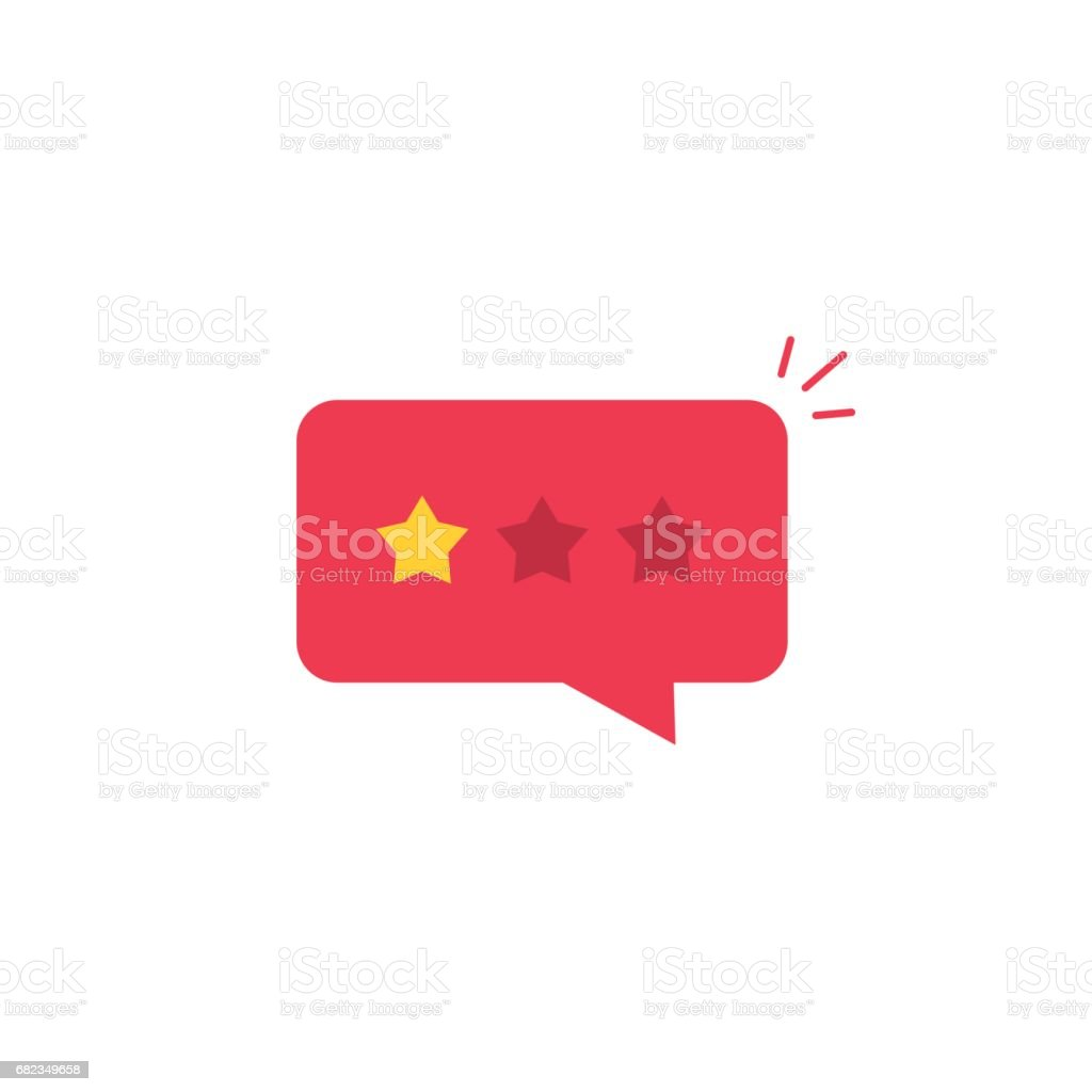 Bad review rating icon, reviews stars negative rate, testimonial message vector art illustration