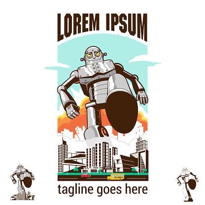 Bad Robot stomping on city asset retro style vector illustration