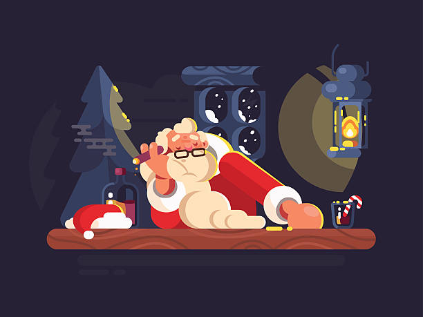 bad santa claus - old man smoking cigar stock illustrations, clip art, cartoons, & icons