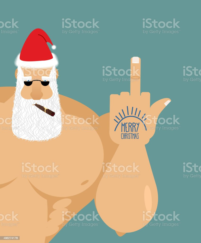 Bully bad Santa Claus shows fuck. Old grandfather with cigar vector art illustration