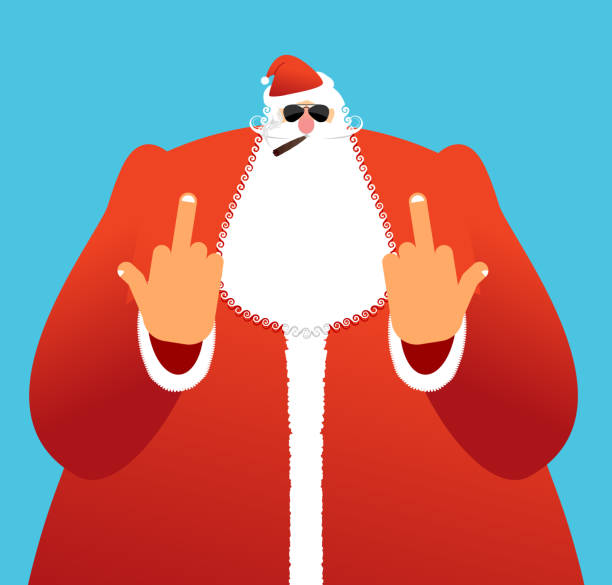 bad santa shows to fuck. angry claus. not good christmas - old man smoking cigar stock illustrations, clip art, cartoons, & icons