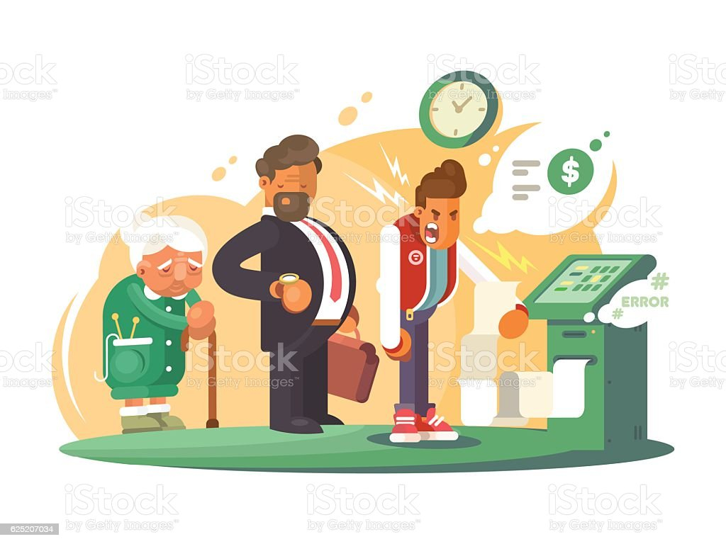 Bad service at bank. vector art illustration