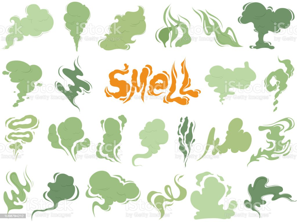 Bad smell. Steam smoke clouds of cigarettes or expired old food vector cooking cartoon icons vector art illustration