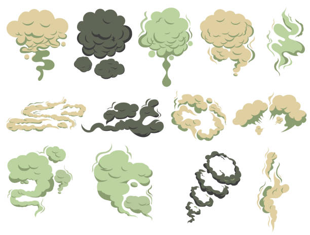 Bad smells, Steam smoke coming up. Stench vapor, stink aroma. Green toxic stink smell. Vector Bad smells, Steam smoke coming up. Stench vapor, stink aroma. Green toxic stink smell, dirty man odor clouds. Deadly Gas, smoky wave effect. Vector infamous stock illustrations