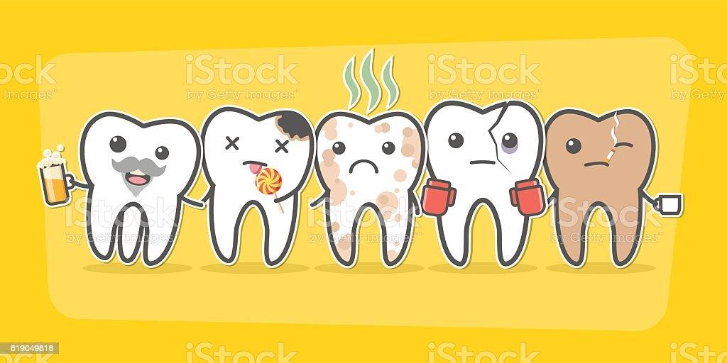 Bad teeth company. vector art illustration