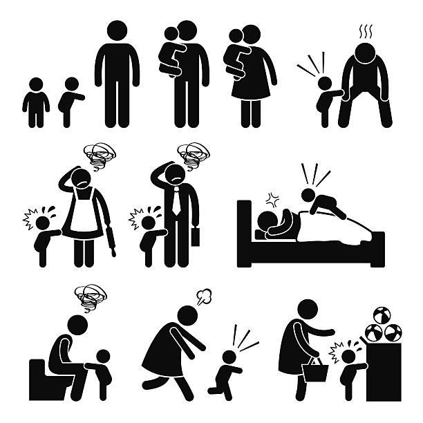 schlechte mildern kleinkinder baby trotzanfall mit mutter und vater - toddler stock-grafiken, -clipart, -cartoons und -symbole