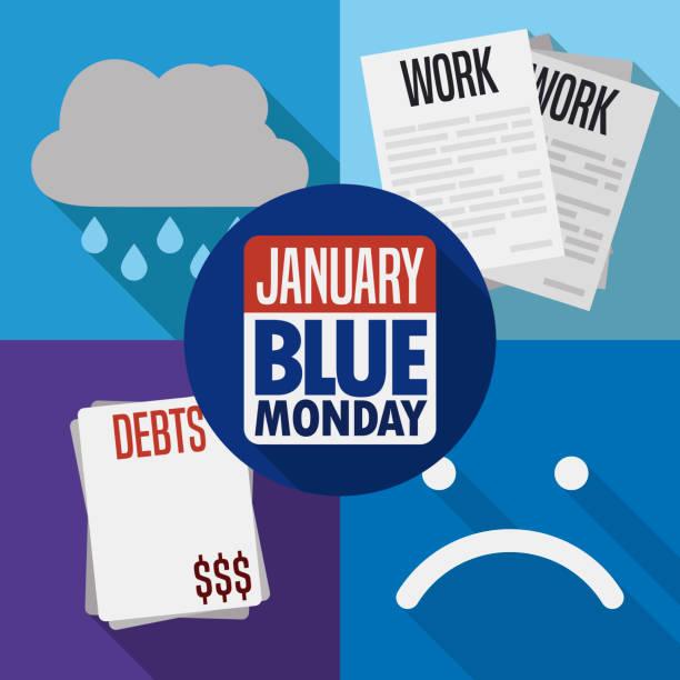 illustrazioni stock, clip art, cartoni animati e icone di tendenza di bad weather, labor stress, debts and sadness for blue monday - blue monday