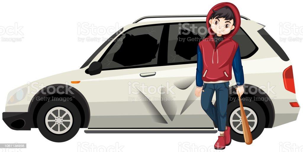 Bad young teen broke the car vector art illustration