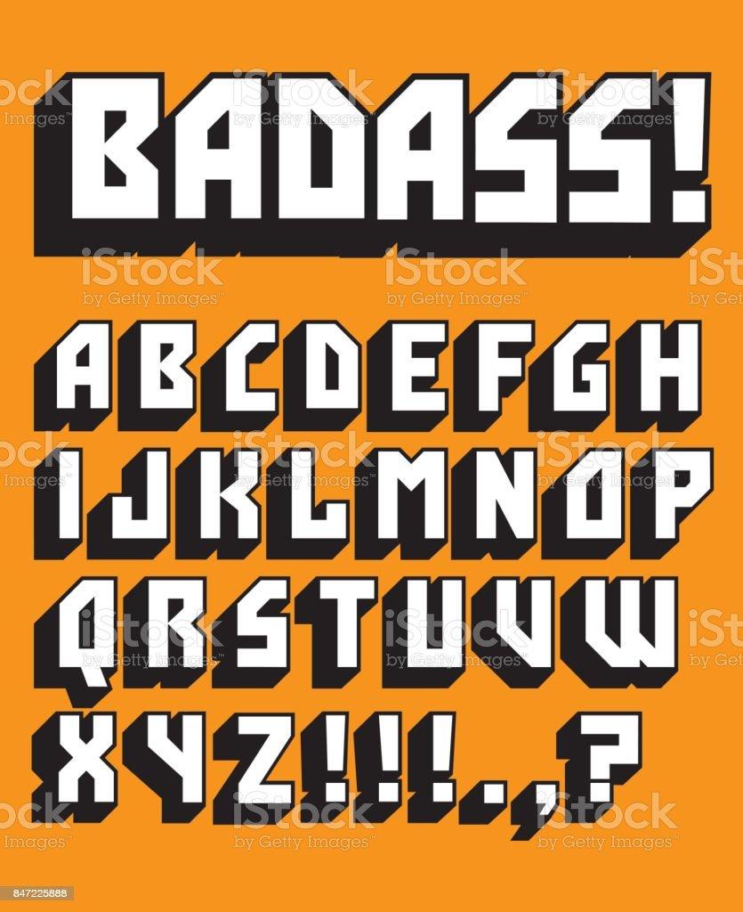 Badass Custom Retro Vector Alphabet vector art illustration